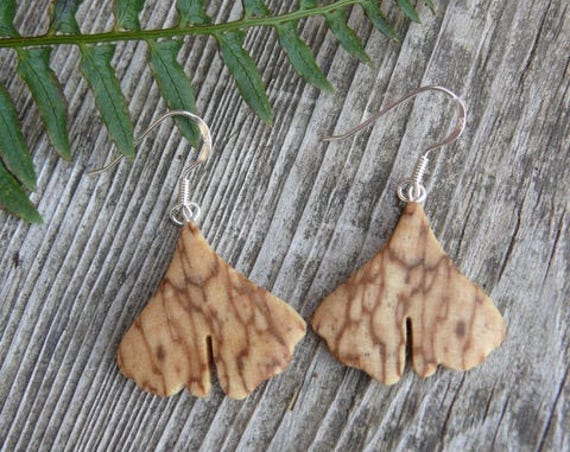 Small Ginkgo earrings, Itty Bitty Dangle earrings, Ginkgo leaf Jewelry, Ginkgo earrings, Nature lover gift, Wooden earrings, herbalist gift