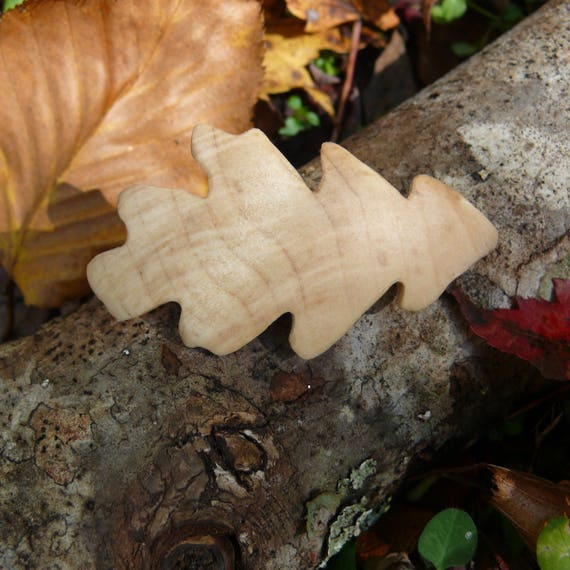 Oak Leaf Hair Clip, 50mm French Clasp