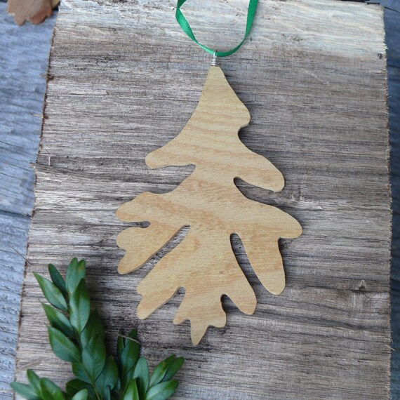 Natural holiday decor, Oak leaf Rustic wood ornament, Natural wood Oak leaf ornament, Turn over a new leaf, Natural Christmas wood ornament