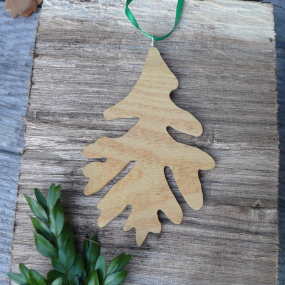 Natural holiday decor, Oak leaf Rustic wood ornament, Natural wood Oak leaf ornament, Turn over a new leaf, Natural Christmas wood ornament