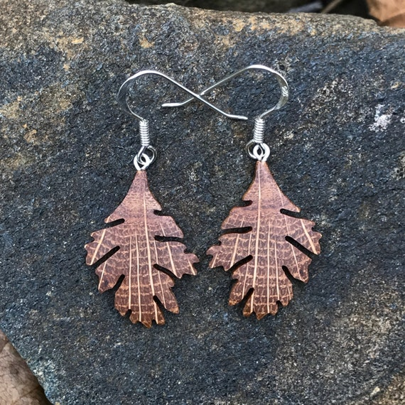 Oak Leaf earrings, Wood Earrings
