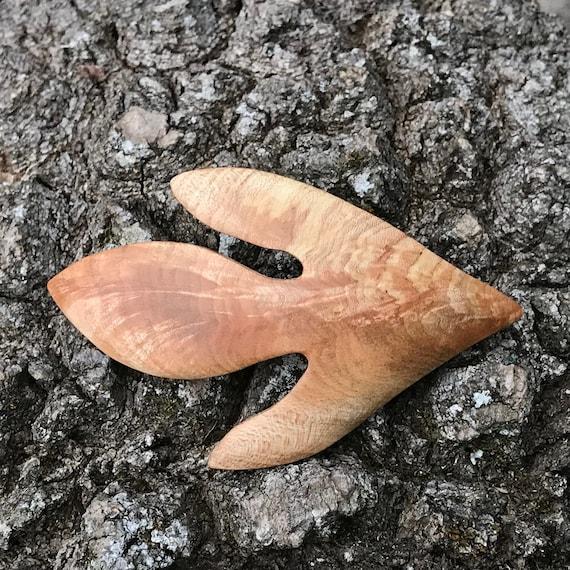 Sassafras Leaf Hair Clip, 80mm French Clasp