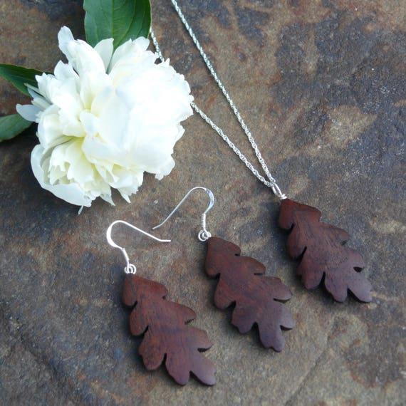 Oak leaf earrings & necklace, Oak leaf Jewelry Set, Sterling silver leaf earrings, Nature lover gift