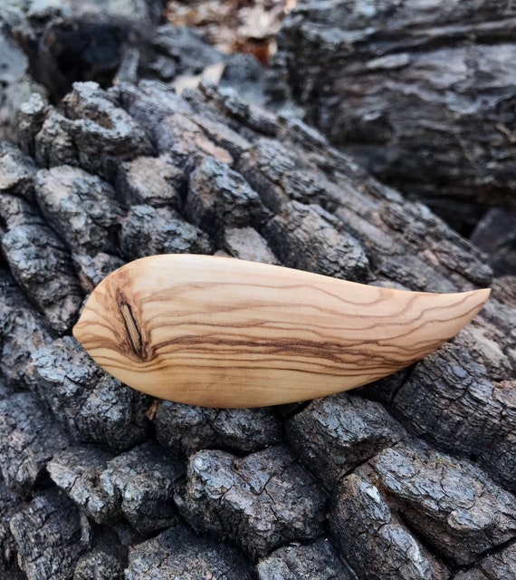 Leaf hair clip wooden, Nature Lover Hair Clip, French barrette clasp 80mm, olive wood, Wooden Jewelry, Boho, leaf jewelry, Natural