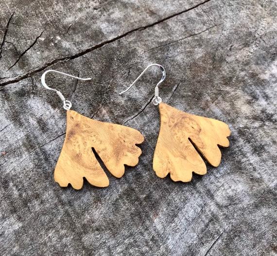 Wooden Leaf Earrings, Sterling *boho earrings,dangle earrings,gift for her,bridesmaid gift,wedding gift,drop earrings,bohojewelry,OOAK