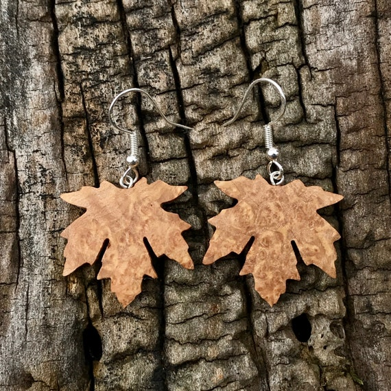 Wooden Maple leaf Earrings, Nature inspired jewelry, Earthy earrings, Sterling silver maple leaf earrings, Botany lover Earrings