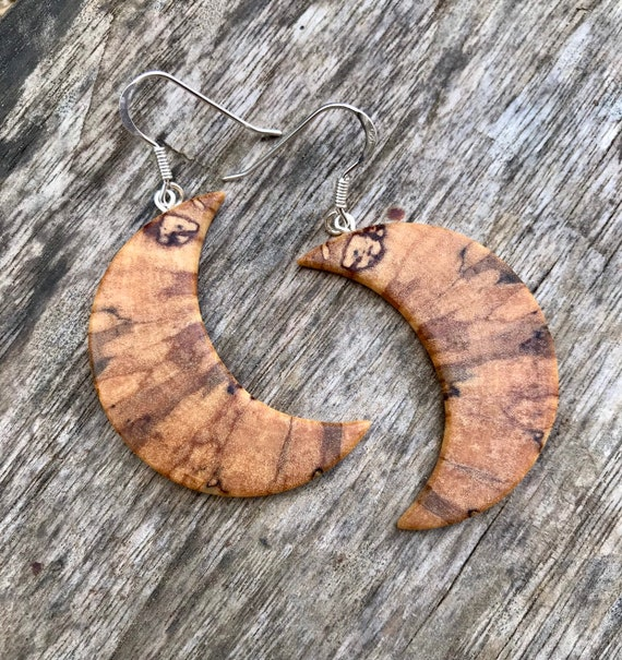 Wood Crescent Moon Earrings, Moon earrings, Moon jewelry, Nature jewelry, Moon phases dangle earrings, Love you to the moon and back,