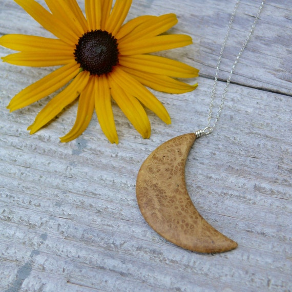 Crescent Moon Necklace Pendant, Moon Jewelry, To the moon and back, Phases of the Moon jewelry, Boho moon necklace, Wooden jewelry accesory