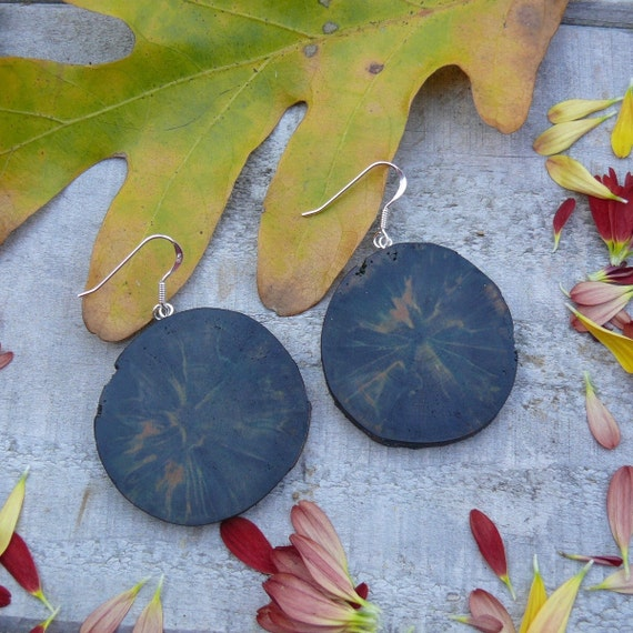 Natural Wood earrings~Rustic branch rounds earrings-all natural Green spalted birch-NO DYES-Green gift-unique gift for her-sterling silver