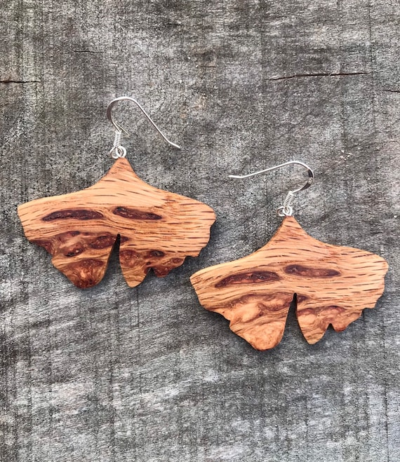 Wooden Leaf Earrings, Sterling *big boho earrings,large dangle lightweight earrings,gift for her,bridesmaid gift,wedding gift,drop earrings