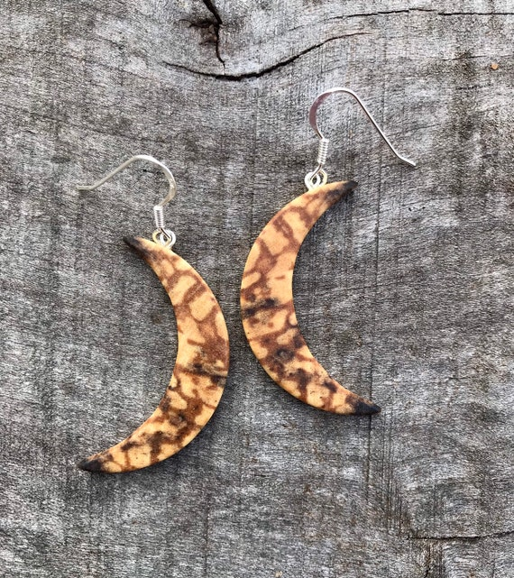 Wood Crescent Moon Earrings, Boho Moon earrings, Moon jewelry, Nature jewelry, Moon phase dangle earrings, Love you to the moon and back,