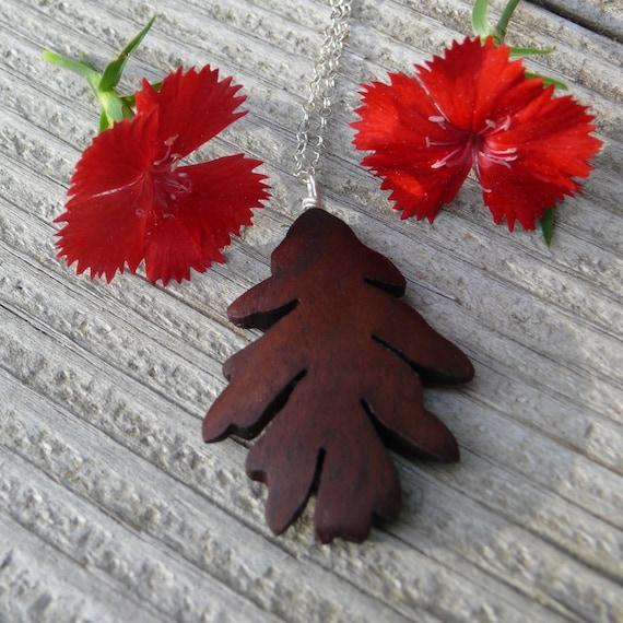 Oak Leaf Necklace Pendant, Silver Oak leaf Necklace, Oak leaf jewelry, Wooden Boho necklace, Gift for her under 20, Nature lover gift