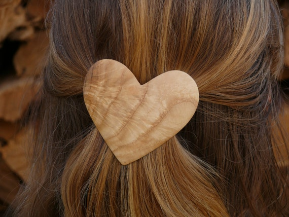 Valentine Heart Jewelry, I love you gift, Wood Heart barrette hair clip, Gift for mom wife, sister, Unique gift got her