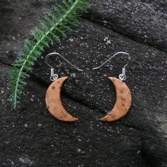 Wood Crescent Moon Earrings