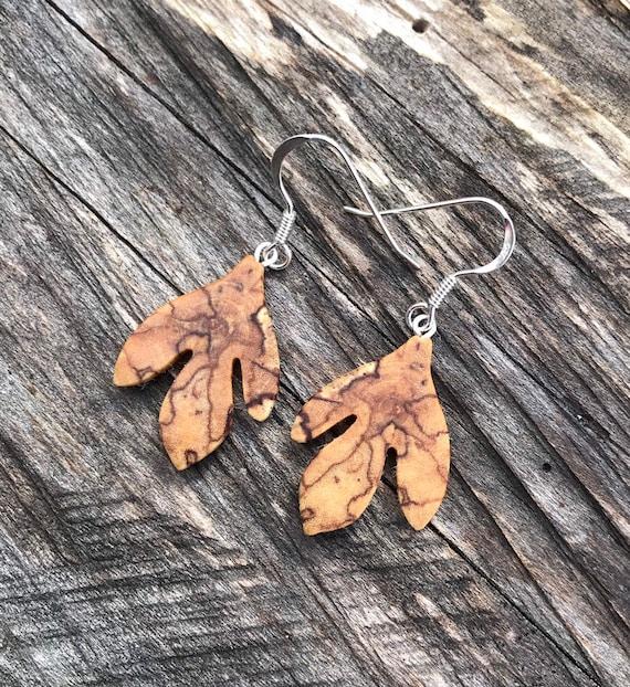 Sassafras Leaf earrings, Leaf earrings, Nature lover gift, Herbalist jewelry, Earthy jewelry, Sassafras Jewelry, Natural wood