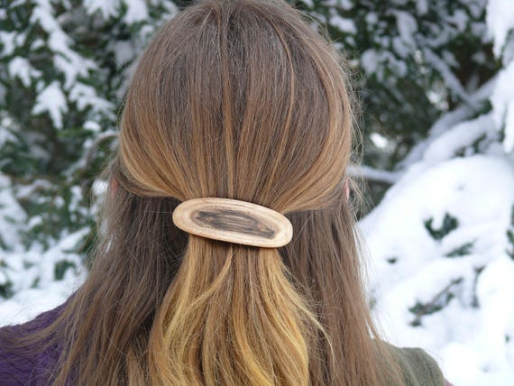 Natural wood hair Clip, Organic natural hair accessory, French Barrette clasp 80mm, Boho wooden jewelry, Nature Lover Gift