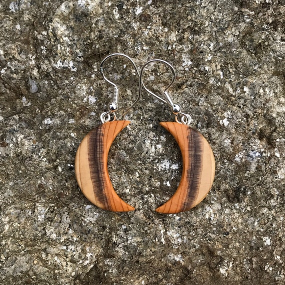 Wood Earrings, Crescent Moon