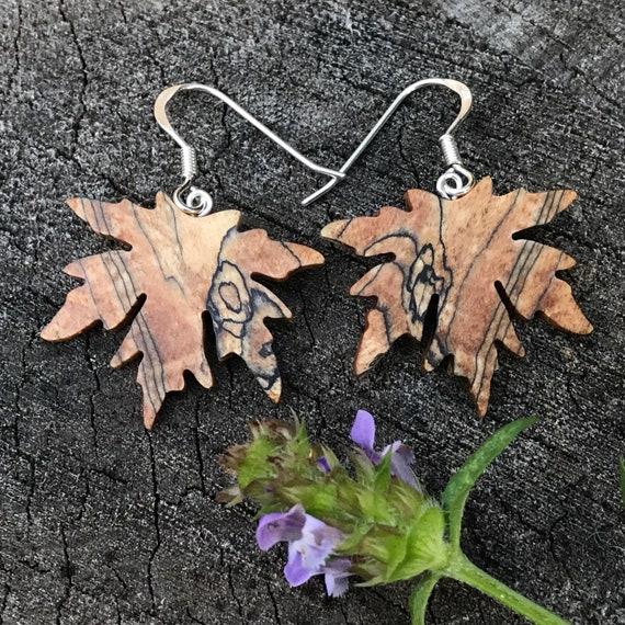 Spalted Maple Leaf Earrings