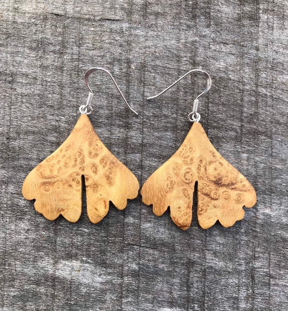 Wooden Leaf Earrings, Sterling *boho earrings,dangle earrings,gift for her,bridesmaid gift,wedding gift,drop earrings,bohojewelry,OOAK