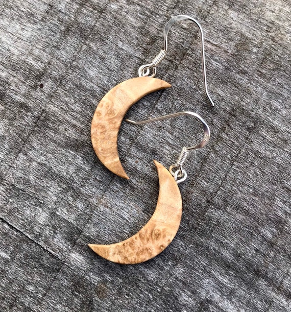 Wood Crescent Moon Earrings, Boho Moon earrings, Moon jewelry, Nature jewelry, Moon phase dangle earrings, Love you to the moon and back,