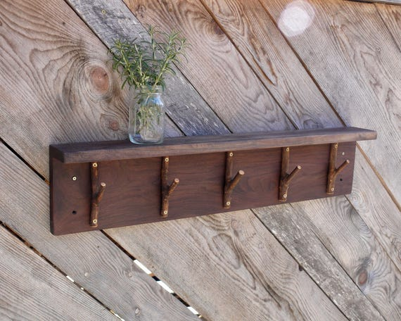 Rustic Coat Rack with 5 Tree Branch Hooks, Hallway Organizer, Heavy Duty Coat Rack, Rustic Wood Wall Hanging Coat Rack