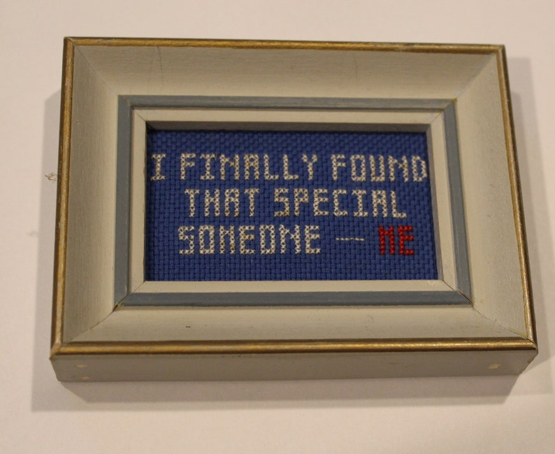 Cross Stitched Framed Quote