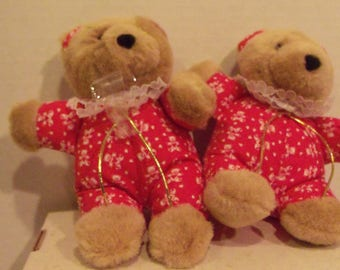 Twin Bears with Red PJ's