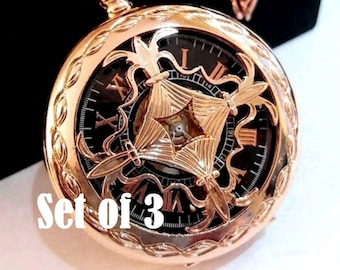 Pocket Watch Set of 3 Rose Gold Tone Personalized Engraved Groomsman Gift Wedding Keepsake Includes Chains Free Shipping