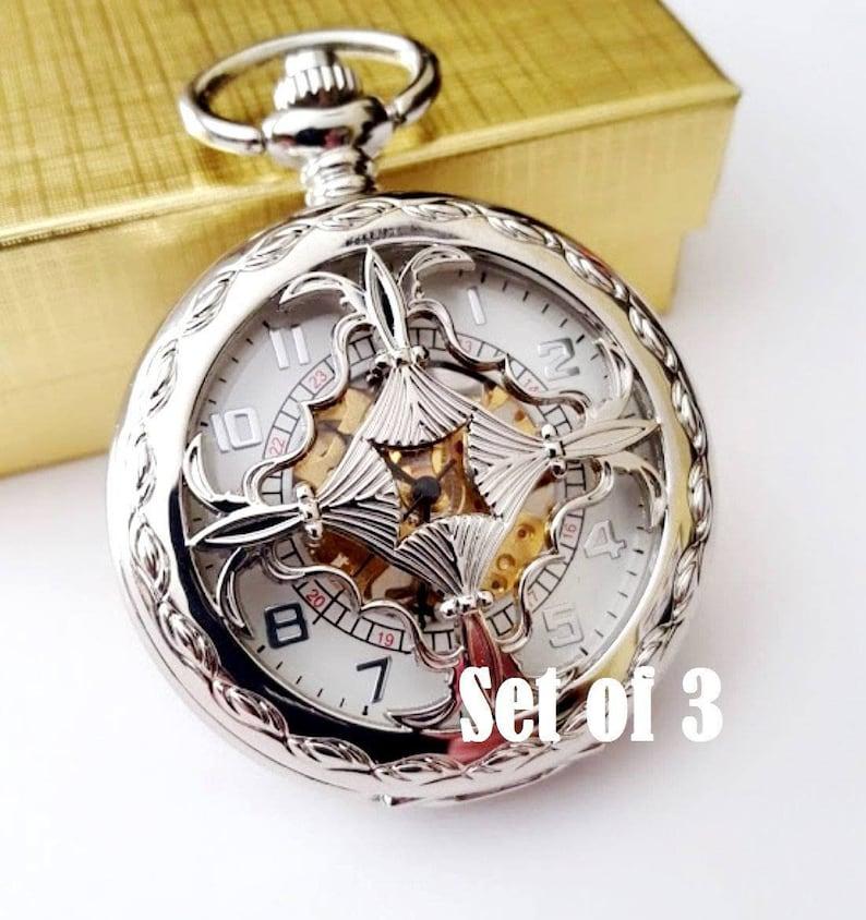 2782f1031 Silver Pocket Watch Set of 3 Engraved Groomsmen Gift | Etsy