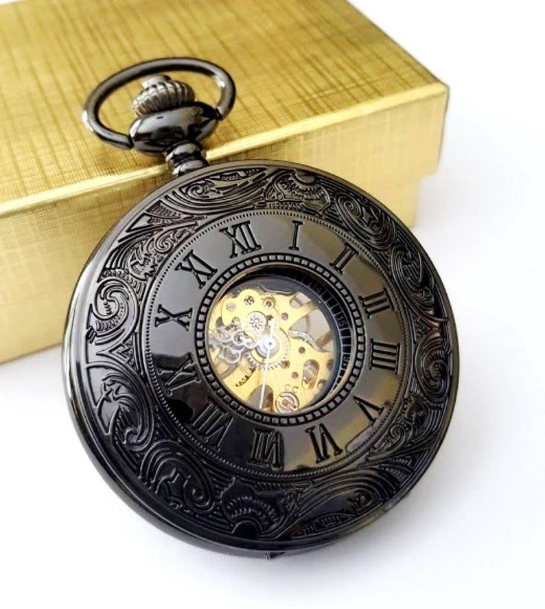 f9518b936 Black Pocket Watch Personalised Groomsmen Gift Wedding Sets | Etsy