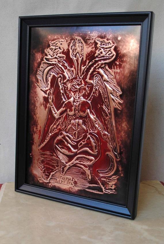 Baphomet Sabbatic Goat of Eliphas Levi, Satanic Occult Art Symbol in  embossed Copper