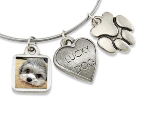 Zeldas Song Pet Themed Jewelry Bangle Bracelet Dog Jewelry with HEART DOG and PAW PRINT Dog Charms