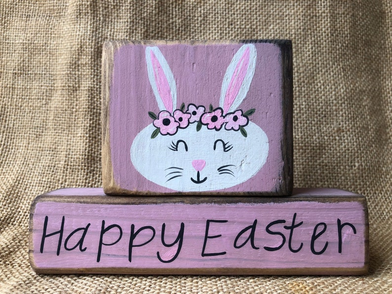 30b8f86e2e388 Distressed Shabby Chic Rabbit Face Bunny Face with flowers | Etsy