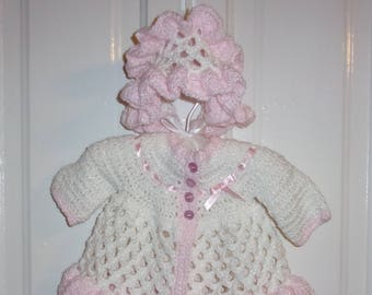 Hand Crocheted Infant Girl's Matinee Set ~ Coat and Bonnet ~ Pink & White ~ Newborn to 3 months