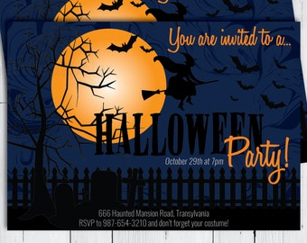 Printable Halloween Party Invitation -- All Hallow's Eve Witch Full Moon Graveyard Headstone Bats Cemetery Night -- PNG & JPG