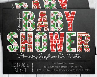 Printable Winter Baby Shower Invitation -- Ugly Christmas Sweater Chalkboard Shower Invitation -- PNG & JPG