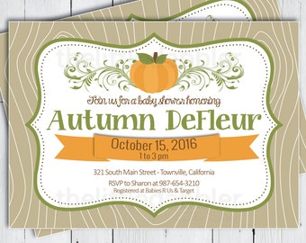 Printable Baby Shower Invitation -- Fall Pumpkin Patch Rustic Country Wood Flourish Ribbon -- PNG & JPG