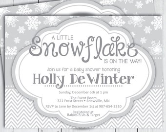 Printable Winter Baby Shower Invitation -- White Grey A Little Snowfake is on the Way Winter Christmas frozen Shower -- PNG & JPG