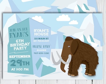 867cf0a9150 Printable Ice Age Birthday Party Invitation -- Woolly Mammoth Mastodon Stone  Age Ice Age Time Period -- PNG   JPG