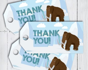 1f3f3431186 Printable Woolly Mammoth Ice Age Thank You Favor Tags -- Birthday Thank You  Gift Tags -- PDF