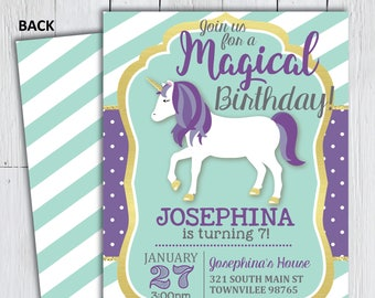 Printable Unicorn Birthday Party Invitation -- It's a Magical Birthday Blue Purple and Gold Stripes -- PNG & JPG