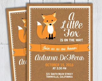 Printable Fox Baby Shower Invitation - Fall Rustic Country Little Fox Kraft Woodland Forest Creature -- PNG & JPG