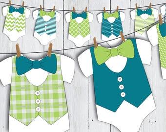 Printable Little Man Onesie Baby Shower Banner -- Aqua Blue Green Bow Tie Vest Baby Romper Little Gentleman First Birthday -- PDF