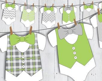Printable Little Man Onesie Baby Shower Banner -- Green Grey Bow Tie Vest Baby Romper Little Gentleman First Birthday -- PDF
