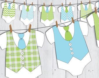 Printable Little Man Onesie Baby Shower Banner -- Blue Green Tie Vest Baby Romper Little Gentleman First Birthday -- PDF