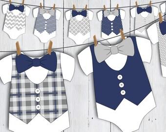 Printable Little Man Onesie Baby Shower Banner -- Navy Blue Nautical Bow Tie Vest Baby Romper Little Gentleman First Birthday -- PDF