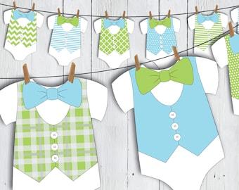 Printable Little Man Onesie Baby Shower Banner -- Blue Green Bow Tie Vest Baby Romper Little Gentleman First Birthday -- PDF