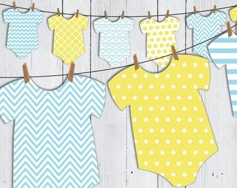 Printable Baby Shower Onesie Banner -- Yellow Blue Rubber Ducky Baby Romper Chevron Polka Dot Stripe Patterned Banner -- PDF