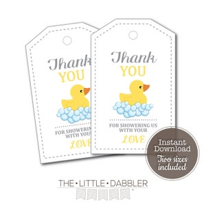 INSTANT DOWNLOAD Rubber Duck Baby Shower chip  treat  party  favor  goodie  candy bag