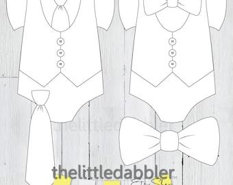1c46d5a39687 Little Man Bow and Neck Tie Vest Onesie Banner Templates -- Little  Gentleman Tuxedo Necktie Bowtie Clipart Baby Shower First Birthday